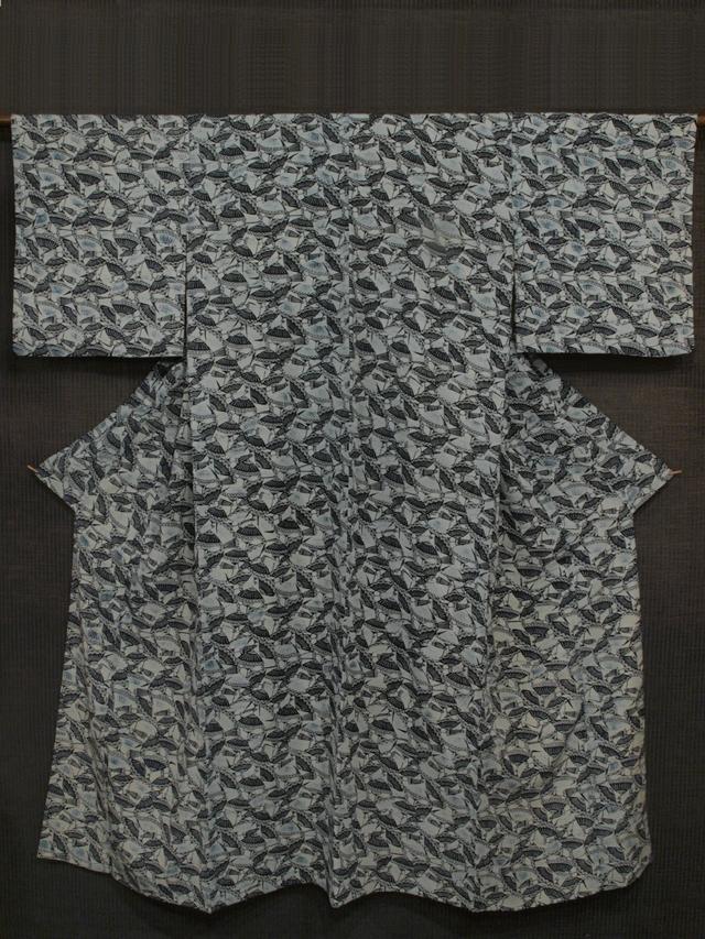 傘文様 型染め 小紋 単衣