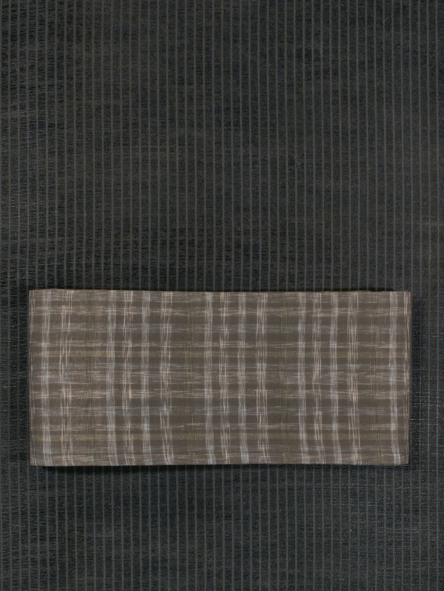 格子縞文様 絣織り 紗紬 半巾帯
