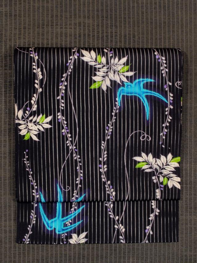 柳に燕文様 型染め 竪絽 名古屋帯