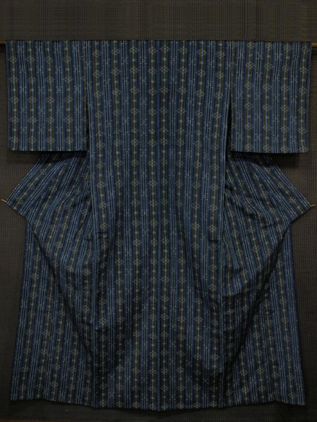縞に幾何学花文様 紬 単衣