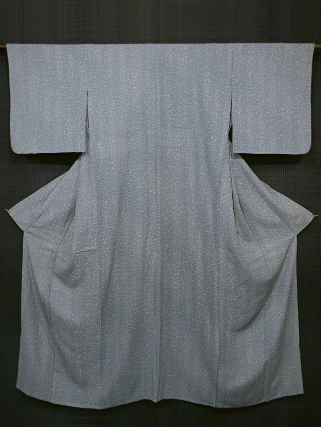 唐花文様 型染め 竪絽 小紋 単衣