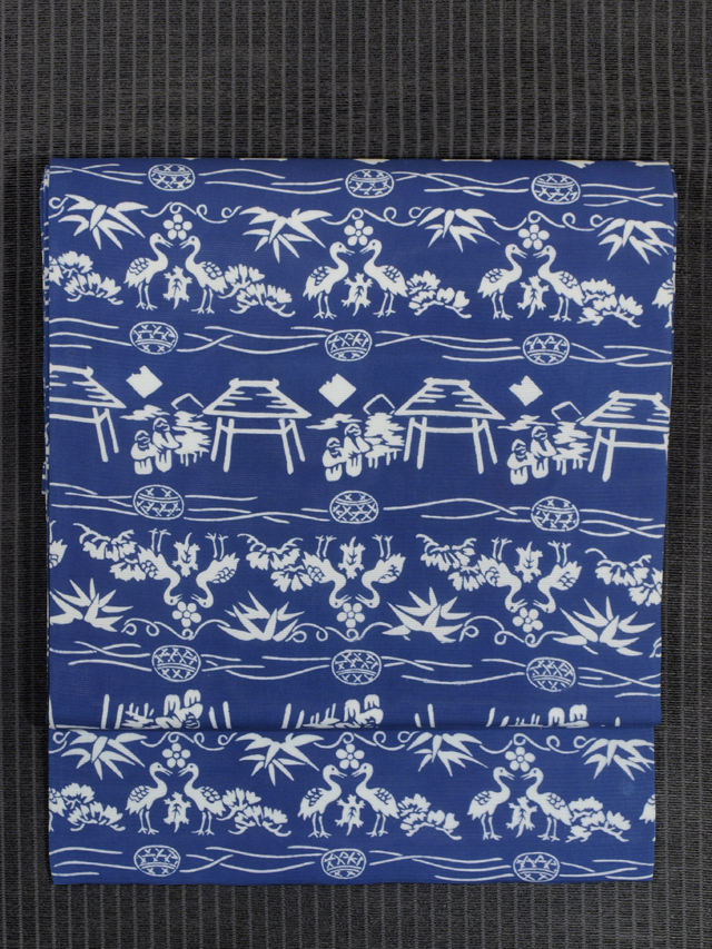 鶴と亀の吉祥文様の絵図 型染め 絽 名古屋帯