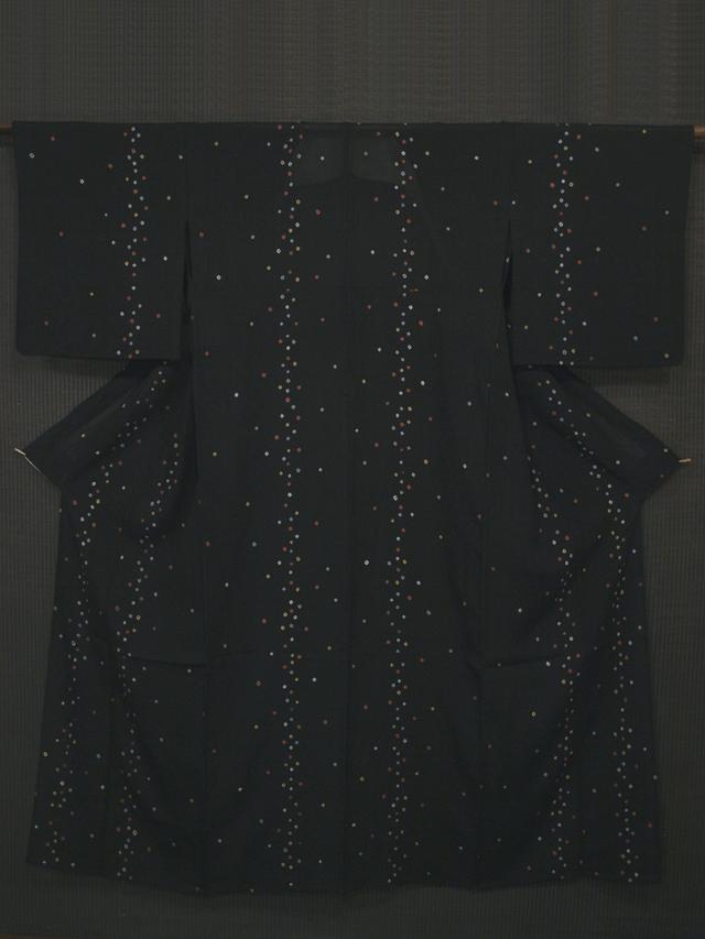 黒色地 鹿の子絞り文様 絽 小紋 単衣