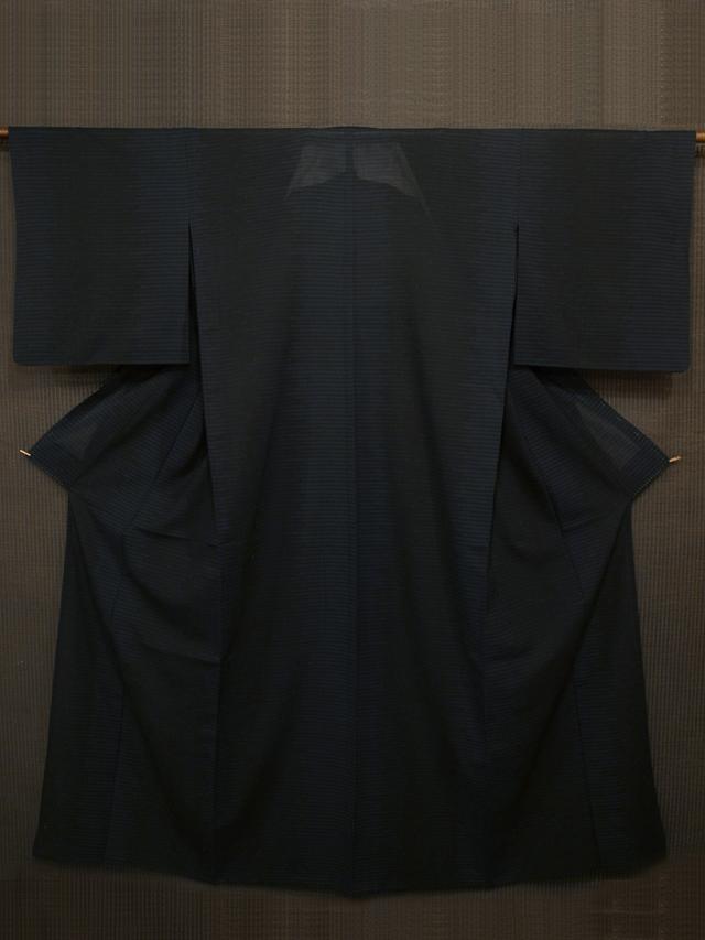 幾何学縞文様 紗紬 単衣