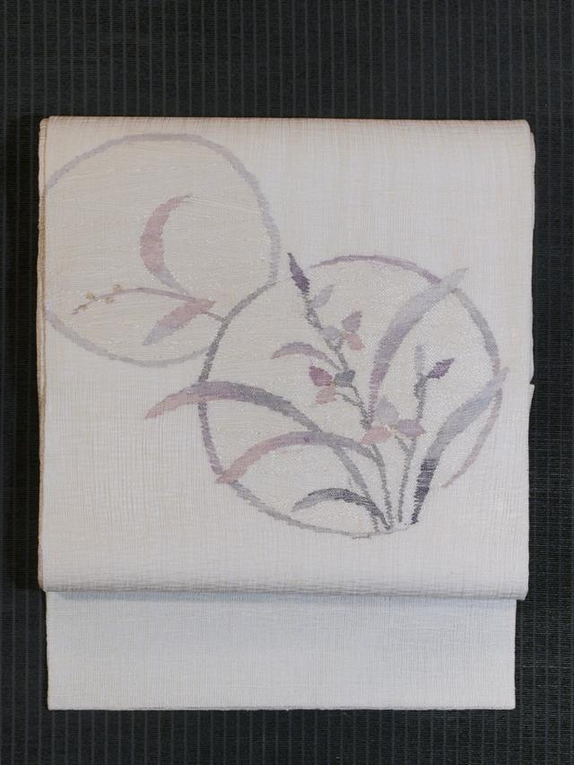 花丸文様 よろけ織り 袋帯