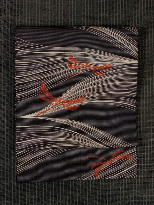 縞にとんぼ文様 型染め 絽 名古屋帯