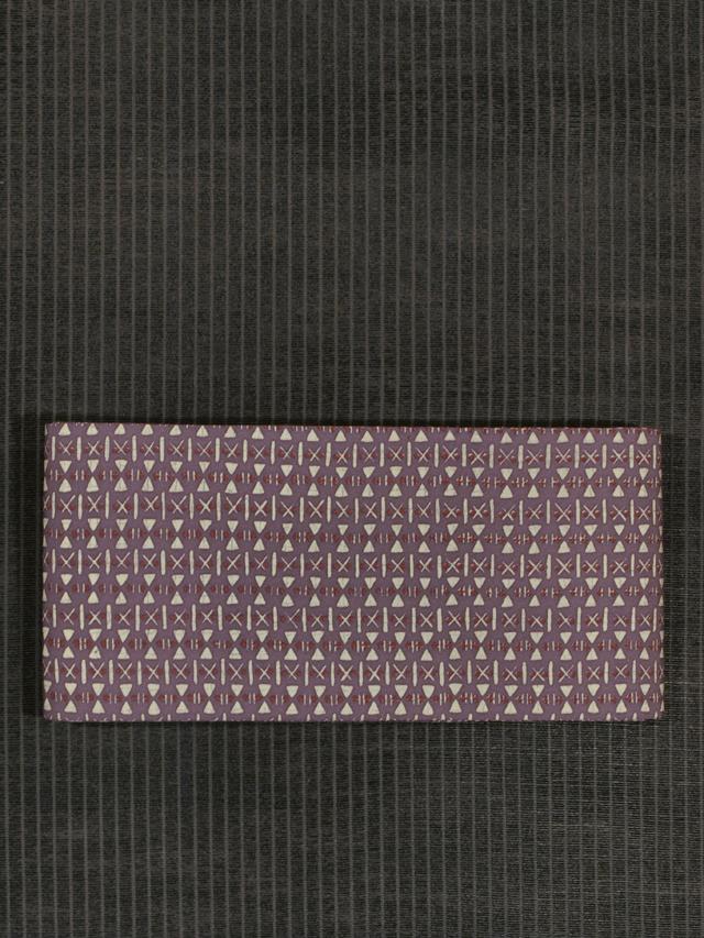 幾何学文様 ろうけつ染め 半巾帯