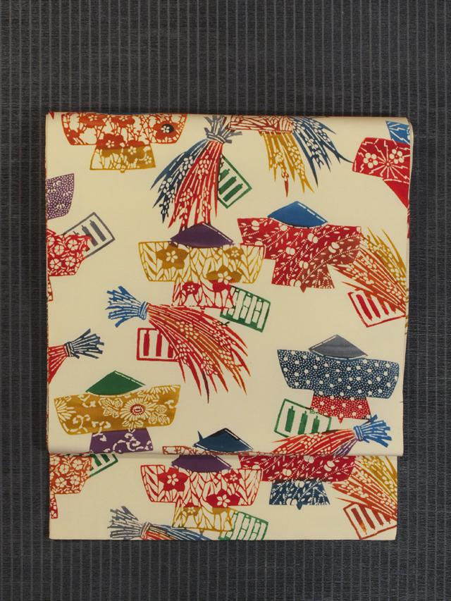 稲束にかかし文様 型染め 名古屋帯