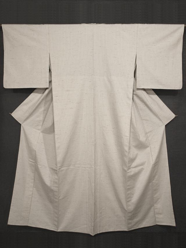 山形ぜんまい紬 縦縞絣文様 紅花の里工房製  単衣 (証紙付き)