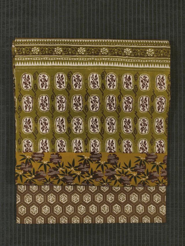 段縞に小紋文様 和更紗 名古屋帯