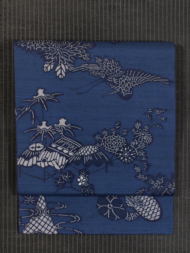 草花に鳥文様 藍型 紬 名古屋帯