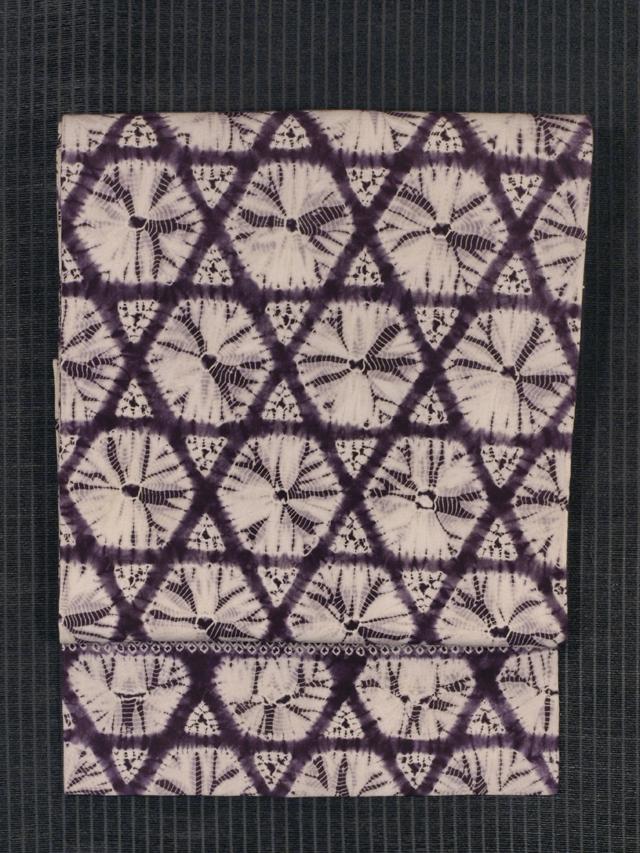 籠目文様 紫根染め 名古屋帯