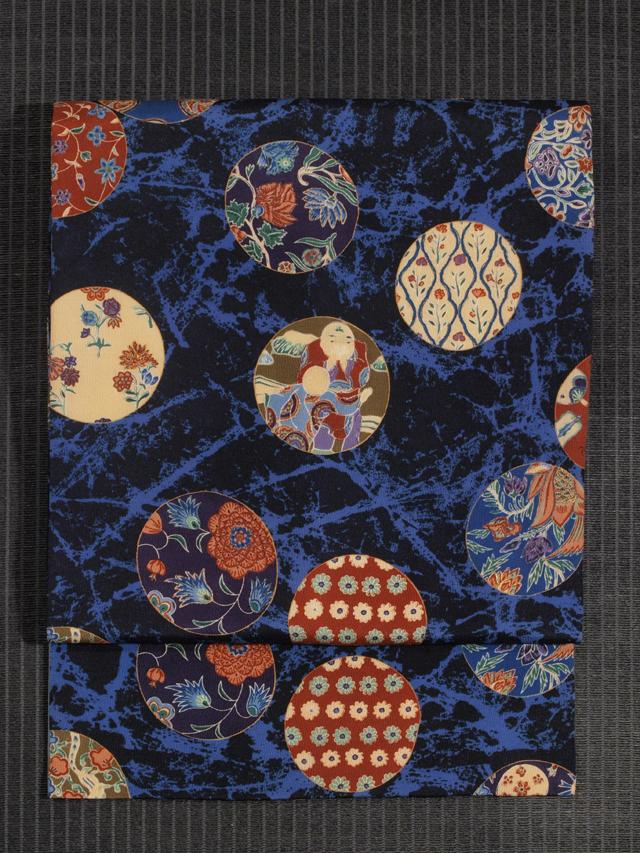 丸に更紗文様 型染めに手刺繍 名古屋帯