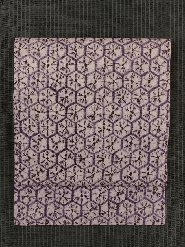 亀甲繋ぎ文様 紫根染め 名古屋帯