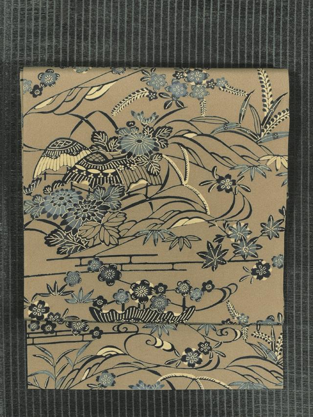 四季の草花に茶屋辻文様 型染め 名古屋帯