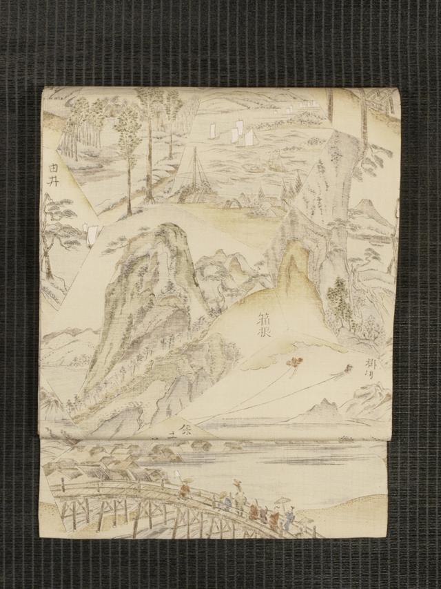 東海道五十三次文様 型染め 名古屋帯