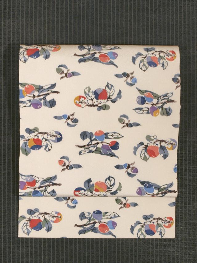 柿と枇杷に団栗文様 型染め 名古屋帯