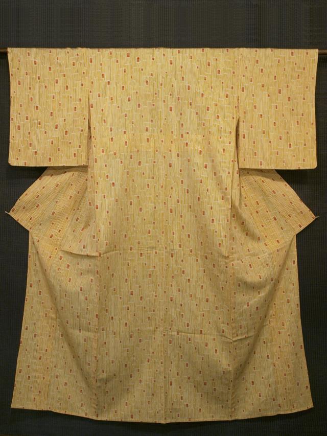 縞に四角文様 手描き染め 小紋 単衣