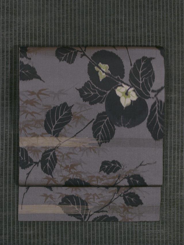 柿文様 絣織り 名古屋帯