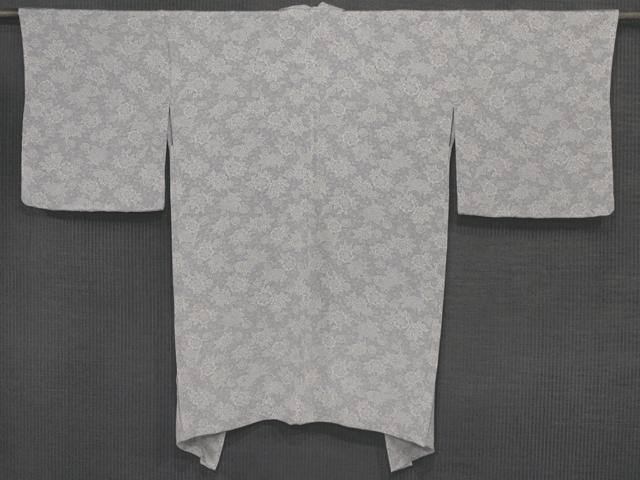桔梗鼠色地 唐草文様 型染め 羽織 単衣