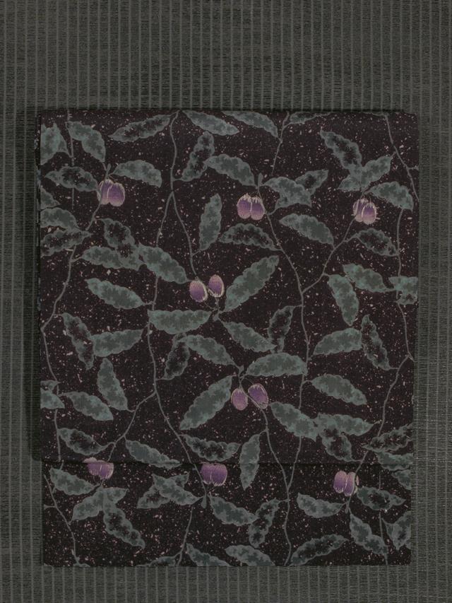 木の実文様 型染め 紬 名古屋帯