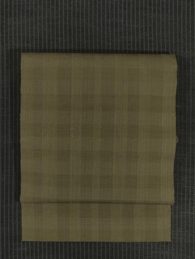 黄海松茶(きみるちゃ)色地 弁慶格子縞文様 手織り紬 八寸名古屋帯