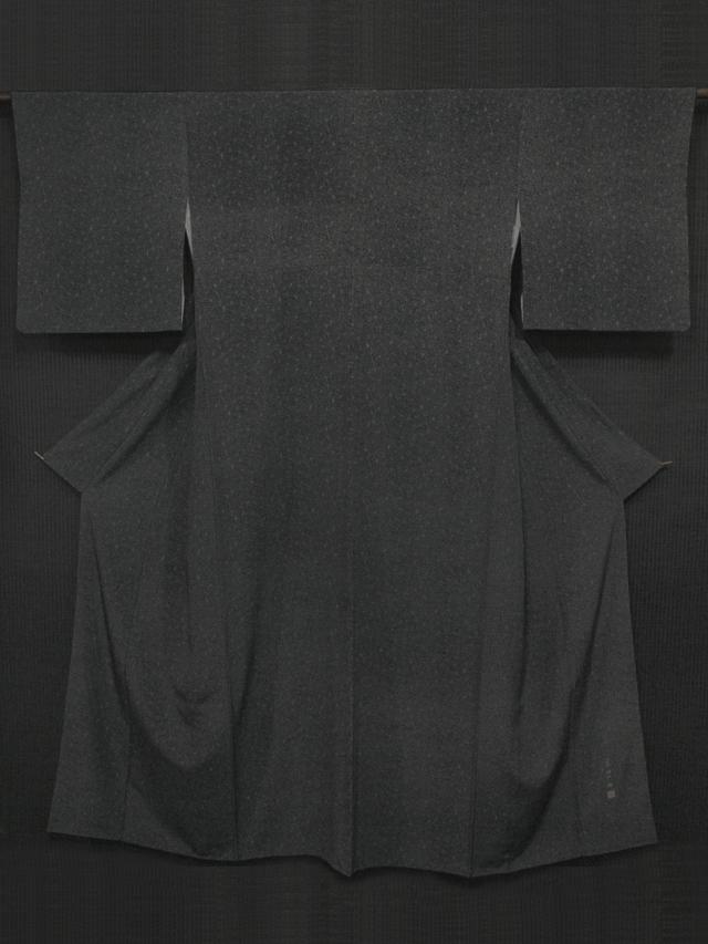 伝統工芸士 宍戸陵(ししどりょう)作 黒色地 南天文様 江戸小紋 袷