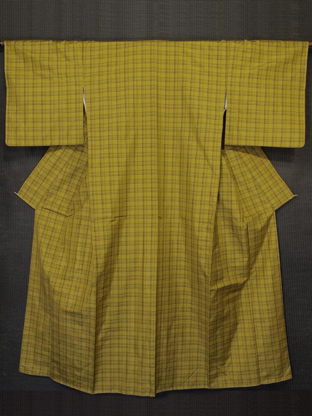 刈安色地 格子縞文様 黄八丈 袷