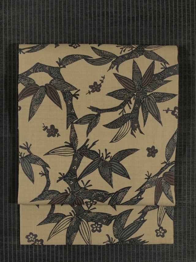 竺仙鑑製 笹竹梅文様 型染め 手織紬 名古屋帯
