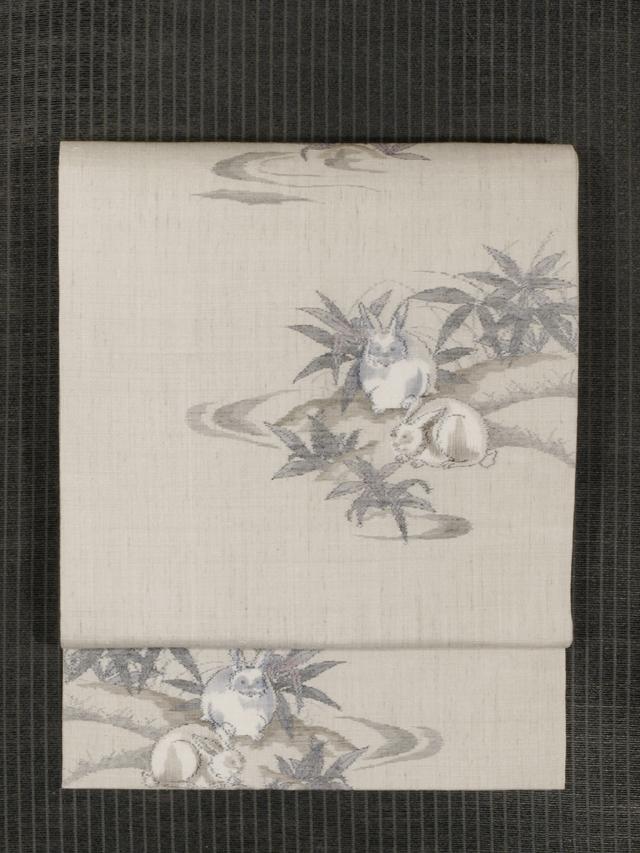 野草に兎文様 絣織 真綿紬 名古屋帯