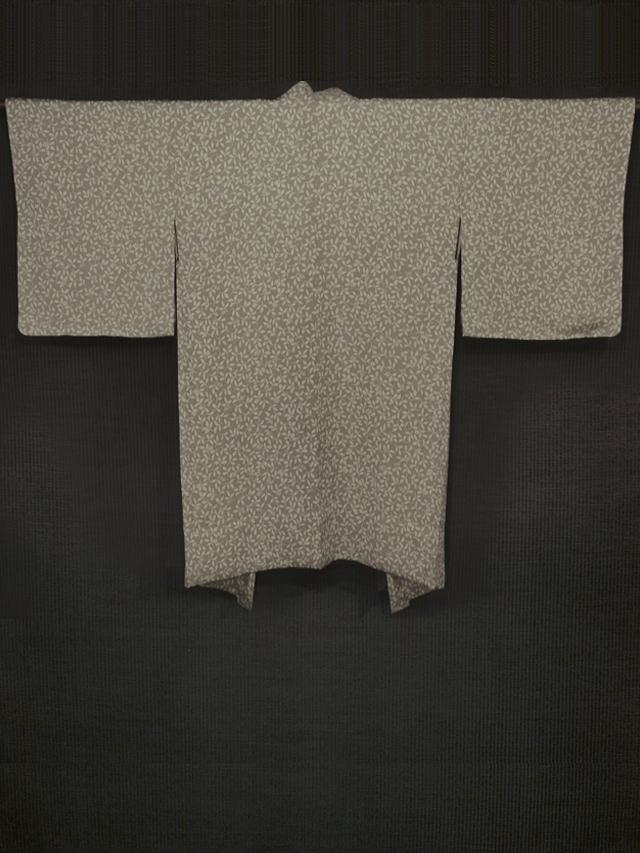 草花文様 型染め 羽織 単衣