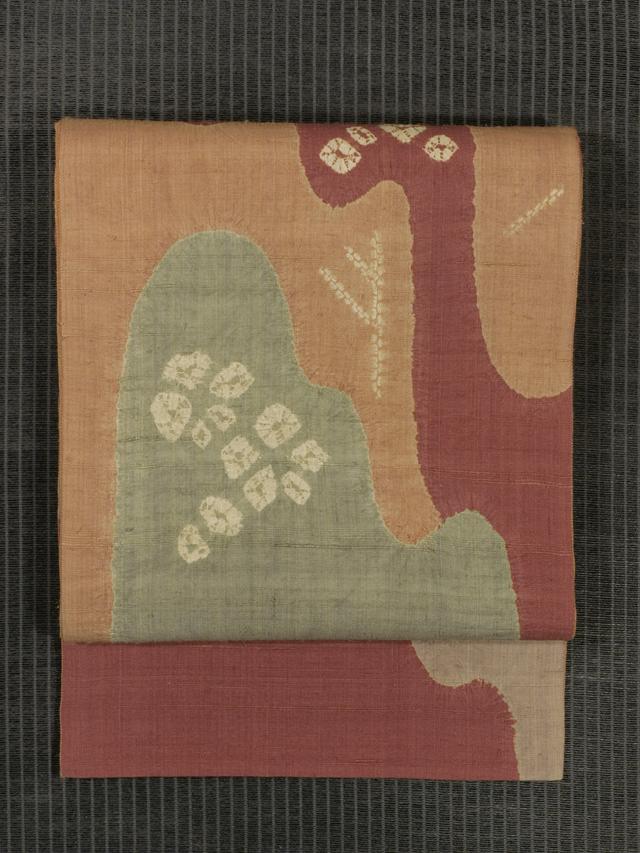 水辺文様 絞り染め 生紬 洒落袋帯