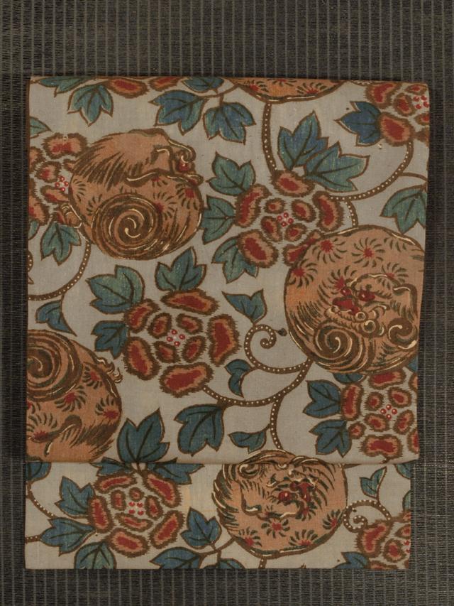 唐獅子牡丹文様 和更紗 名古屋帯