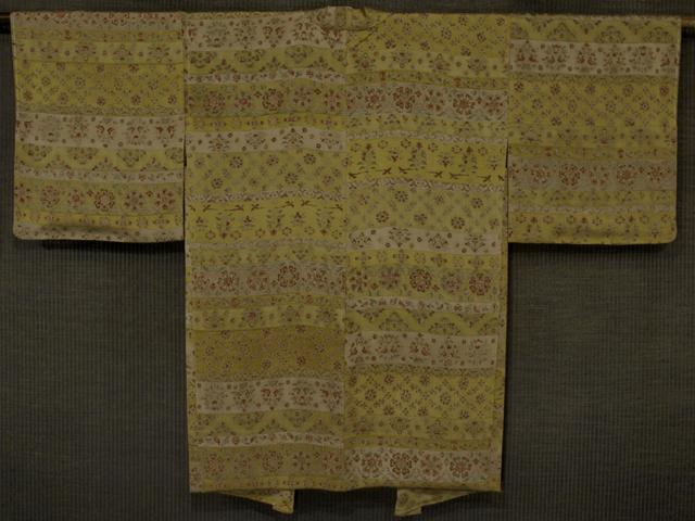 段縞に唐花と鳥文様 型染め 羽織 袷