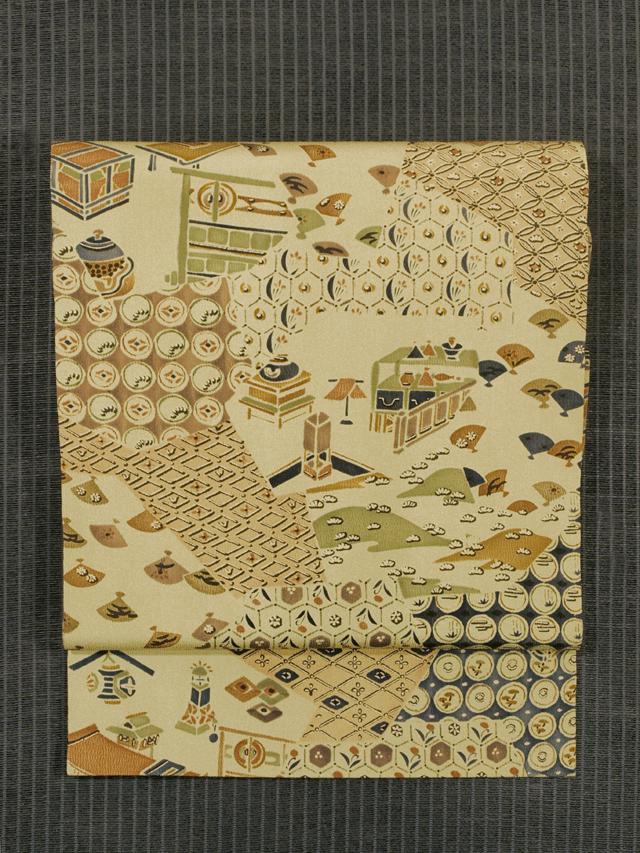 切りばめに吉祥小紋と風物文様 型染め 名古屋帯