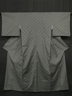 利休鼠(りきゅうねずみ)色地 幾何学花文様 十日町紬 袷