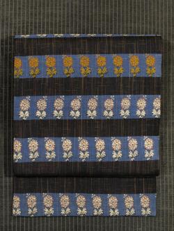 川島織物製 縞に唐花文様 織り 名古屋帯