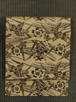 桜と柳文様 型染め 名古屋帯