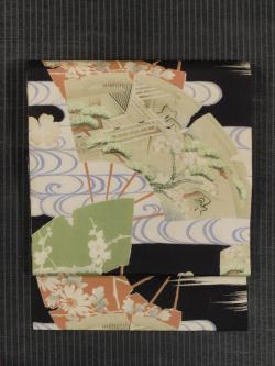 破れ扇に草花文様 型染めに手描き染め 名古屋帯