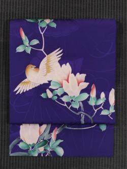 檜扇の地紋に木蓮と鳥文様 手描き染め 名古屋帯