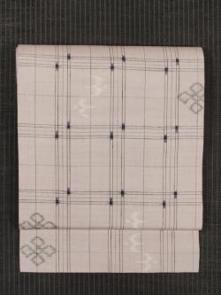 格子縞に琉球絣文様 絣織り 真綿紬 名古屋帯