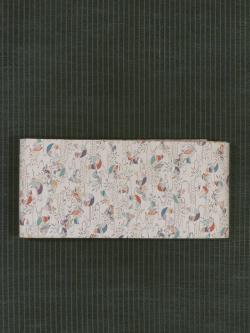 水辺に鴛鴦(おしどり)文様 型染め 半巾帯