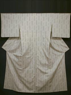 縞に幾何学絣文様 十日町紬 単衣