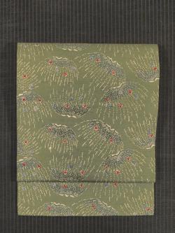 簑枝垂れ柳に花文様 型染め 真綿紬 名古屋帯