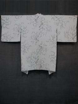 枝花文様 型染め 羽織 単衣