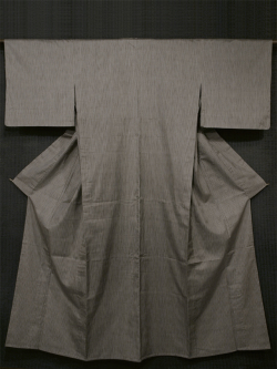 縦縞文様 変わり織り紬 単衣