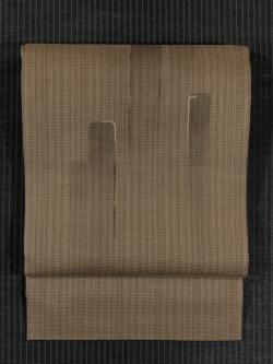 香染(こうぞめ)色地 抽象文様 手描き染め 紗織り 洒落袋帯