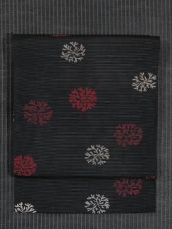 海松文様 型染め 絽 名古屋帯
