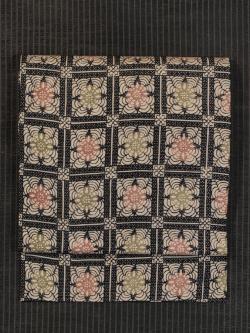 格子縞に花文様 型染め 絽 名古屋帯