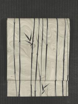 墨流しに竹文様 型染め 絽 名古屋帯
